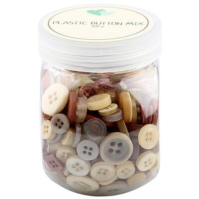 Go Handmade Mix Buttons, Plastic - BROWN 100 G