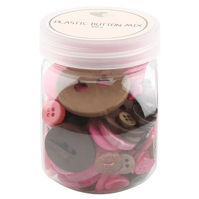 Go Handmade Mix Buttons, Plastic - BROWN / PINK 100 G