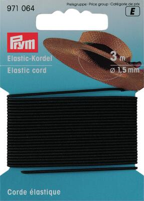 Prym Elastic cord Black 1.5 mm, 3 m