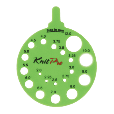 KnitPro Knitting Gauge GREEN (2-12 mm)