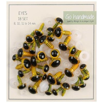 Go Handmade safety eyes Yellow / Black (18 pairs)