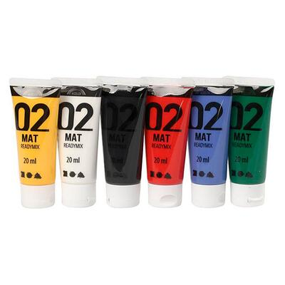A-Color akrylmaling, 02 - mat, 6 x 20 ml