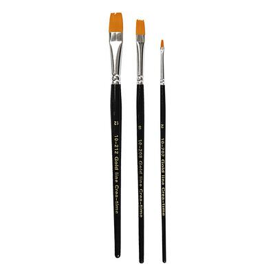 Gold Line Paintbrushes Flat no. 2 + 8 + 12, 3 pcs