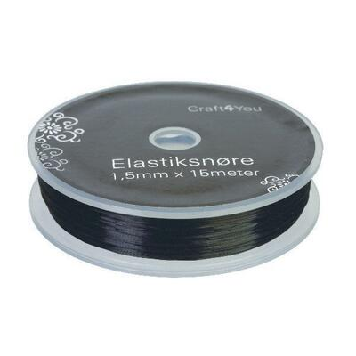 Elastiksnor, 1 mm, 15 m Sort