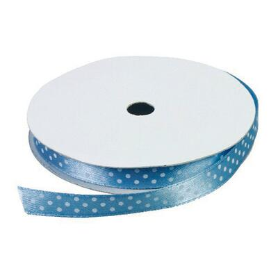 Satin Ribbon Light blue w/dots 9 mm, 9 m
