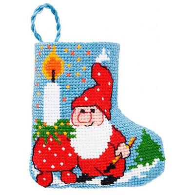 Embroidery kit Pixy & candle Christmas sock