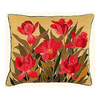Embroidery Kit Cushion Blue-red tulips