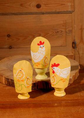 Embroidery kit Egg cosy Chickens, 3 pcs