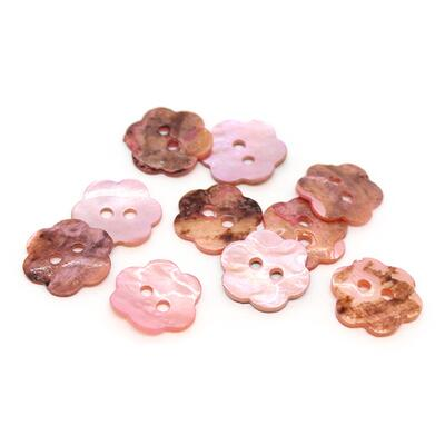 HobbyArts Mother of pearl buttons Flower Pink 15 mm, 10 pcs