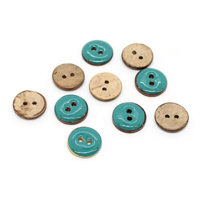 HobbyArts Glazed Coconut buttons Petrol 15 mm, 10 pcs