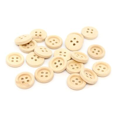 HobbyArts Wooden buttons 15 mm, 20 pcs