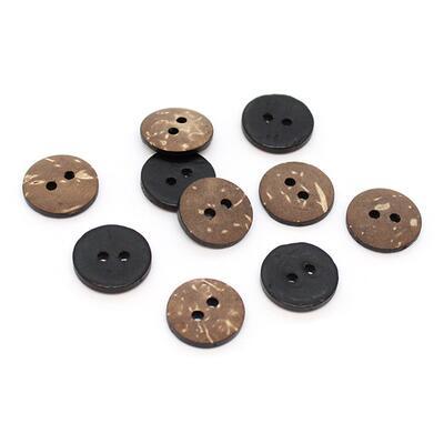 HobbyArts Coloured Coconut buttons Black 15 mm, 10 pcs