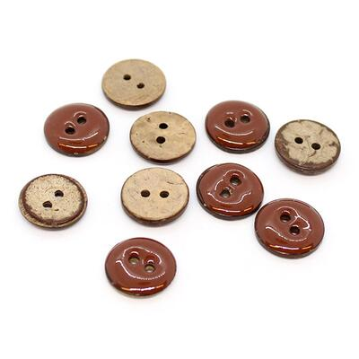 HobbyArt Glazed Coconut Buttons Rust 15 mm, 10 pcs