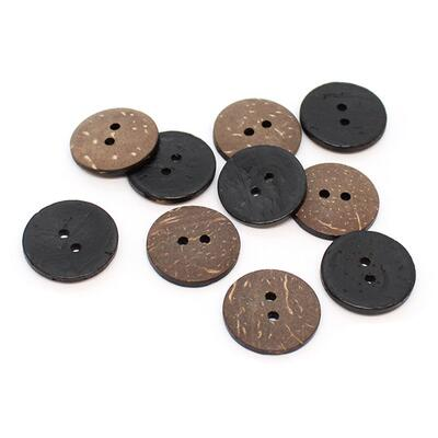 HobbyArts Coloured Coconut buttons Black 20 mm, 10 pcs