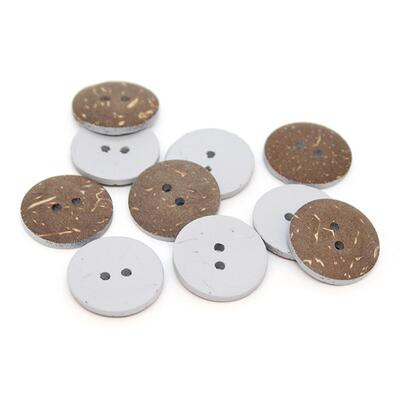 HobbyArts Coloured Coconut buttons Light grey 20 mm, 10 pcs