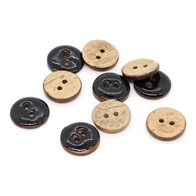 HobbyArts Glazed Coconut buttons Black 15 mm, 10 pcs