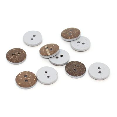HobbyArts Coloured Coconut buttons Light grey 15 mm, 10 pcs