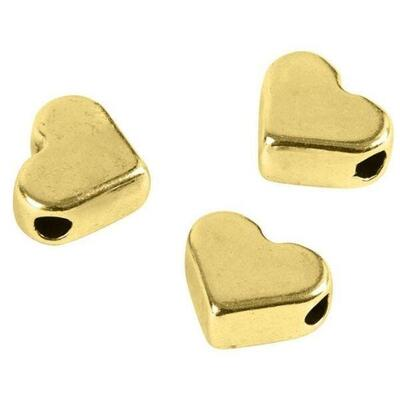 Spacer Bead, 3 PCS Heart Gold-Plated