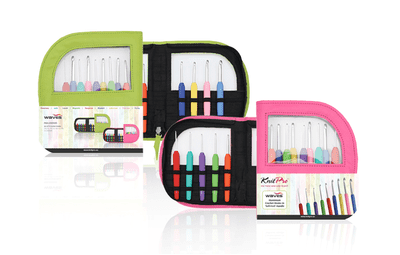 KnitPro Waves Crochet Hooks Set (pink/lime bag in imitation leather)