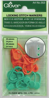 Clover Locking Stitch Markers (orange/green)