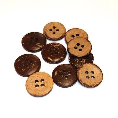 HobbyArts Coconut Buttons, 15 mm, 10 pcs
