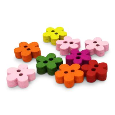 HobbyArts Wooden buttons Flower 11 mm, 10 pcs