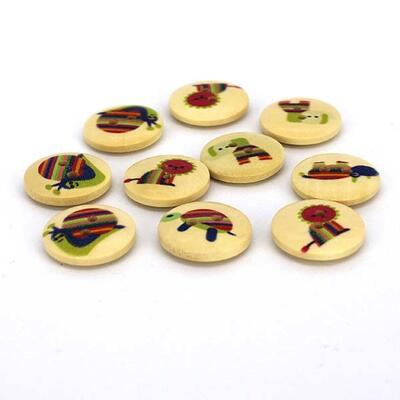 HobbyArts Round Wooden Buttons Animal Print, 18mm, 10 pcs