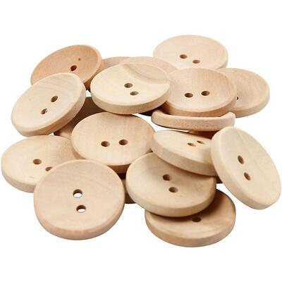 Wooden buttons 25 mm, 20 pcs