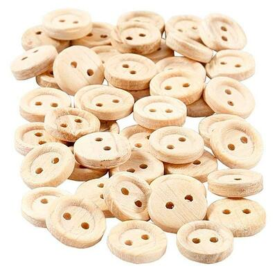 Wooden buttons 11 mm, 50 pcs